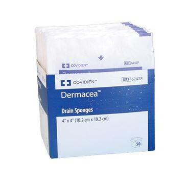"""Picture of Covidien Dermacea - 4"""" x 4"""" Sterile Pre-slit Drain/Trach Sponges"""