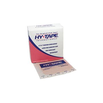 "Picture of Hy-Tape - Zinc Oxide Waterproof Pink Tape 4"" x 4"" Adhesive Patches"