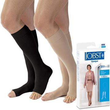 Picture of Jobst Opaque - Women's Knee High 15-20mmHg Compression Support Stockings (Open Toe)