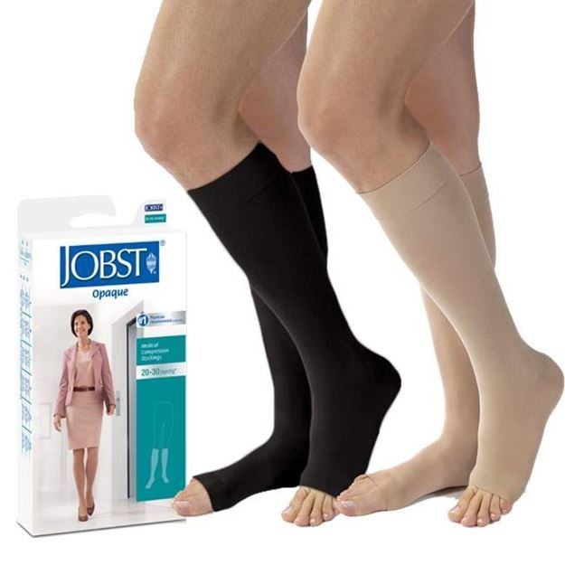 Picture of Jobst Opaque - Women's Knee High 20-30mmHg Compression Support Stockings (Open Toe)