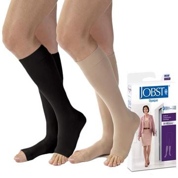 Picture of Jobst Opaque - Women's Knee High 30-40mmHg Compression Support Stockings (Open Toe)