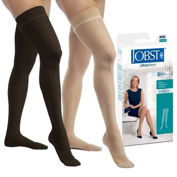 Picture of Jobst UltraSheer - Women's Petite Thigh High 20-30mmHg Compression Support Stockings
