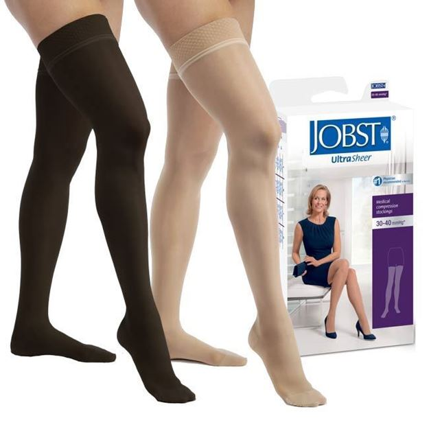 Picture of Jobst UltraSheer - Women's Petite Thigh High 30-40mmHg Compression Support Stockings