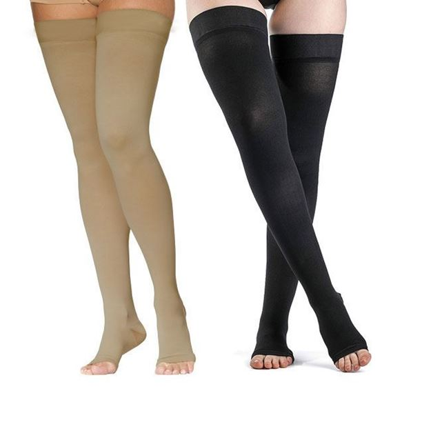Picture of Sigvaris Dynaven Medical Legwear - Thigh High 20-30mmHg Compression Support Stockings (Open Toe - Grip Top)