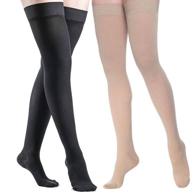 Picture of Sigvaris Dynaven Medical Legwear - Women's Thigh High 20-30mmHg Compression Support Stockings (Grip Top)