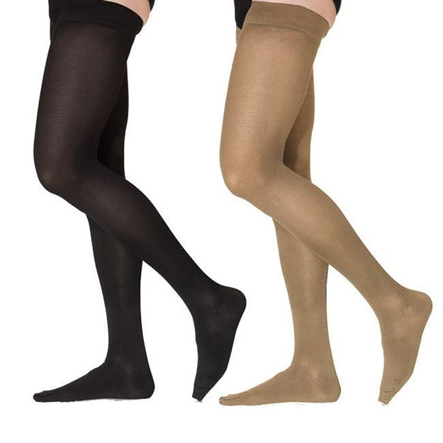 Picture of Sigvaris Cotton Ribbed - Men's Thigh High 30-40mmHg Compression Support Stockings (Grip Top)