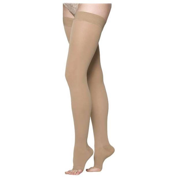 Picture of Sigvaris Cotton Ribbed - Thigh High 30-40mmHg Compression Support Stocking (Open Toe/Grip Top)
