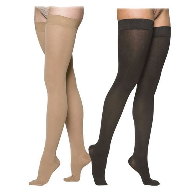 Picture of Sigvaris Cotton Ribbed - Women's Thigh High 30-40mmHg Compression Support Stockings (Grip Top)