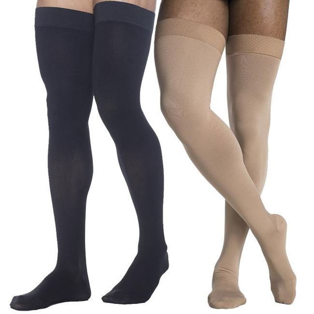 Picture of Sigvaris Microfiber - Men's Thigh High 20-30mmHg Compression Support Stockings (Grip Tops)