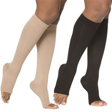 Picture of Sigvaris Opaque- Calf 20-30mmHg Compression Support Socks (Open Toe)