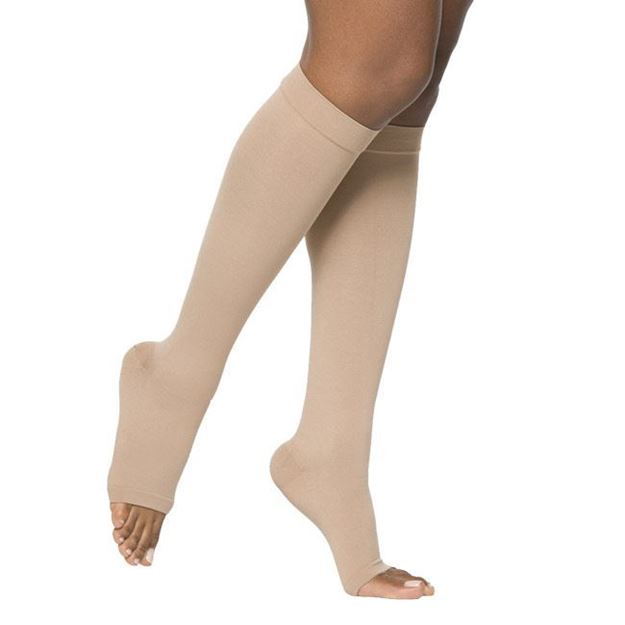 Picture of Sigvaris Opaque- Calf 20-30mmHg Compression Support Socks (Open Toe/Grip Top)