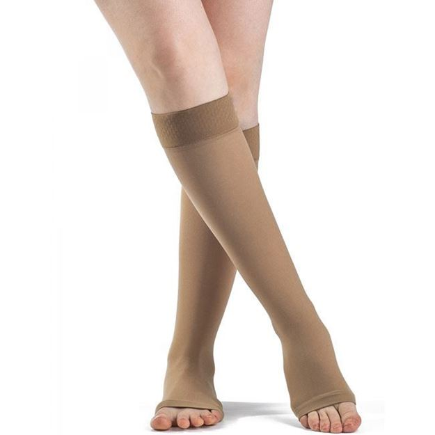 Picture of Sigvaris Opaque - Calf 30-40mmHg Compression Support Socks (Open Toe/Grip Top)