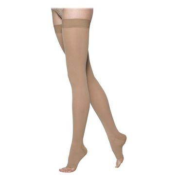 Picture of Sigvaris Opaque- Thigh High 20-30mmHg Compression Support Stockings (Open Toe)