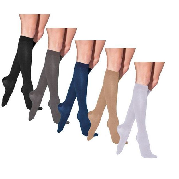 Picture of Sigvaris Cotton Ribbed - Women's Calf 30-40mmHg Compression Support Socks