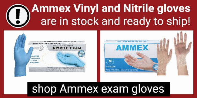 Ammex Vinyl and Nitrile Gloves are in stock