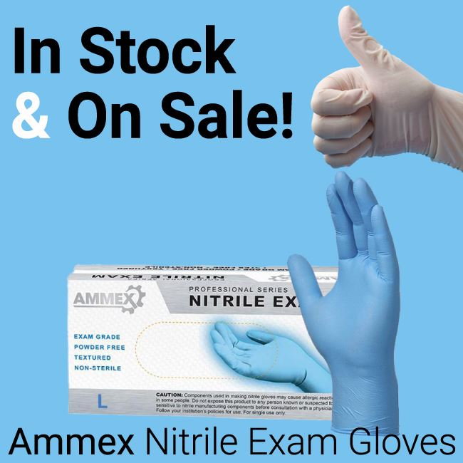Ammex Nitrile Gloves are in stock and on sale
